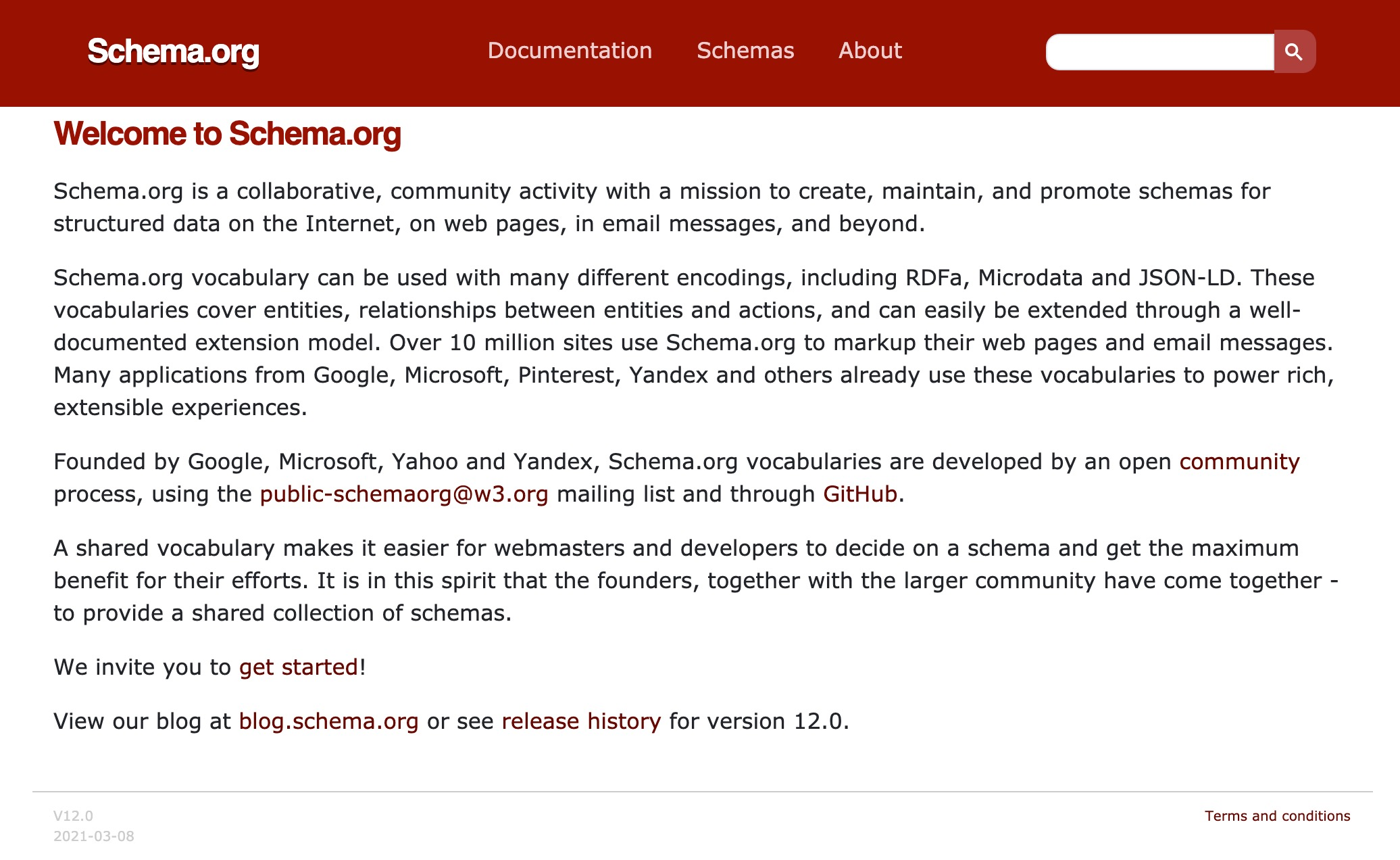 screenshot of schema.org